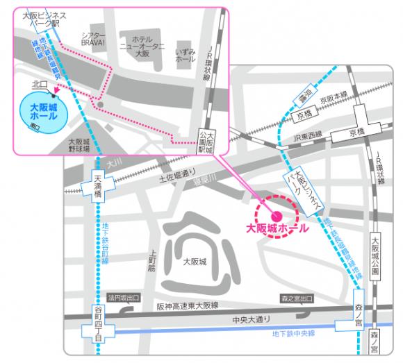 大阪城ホール、地図、マップ、交通アクセス