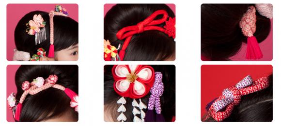 ヘアアレンジ、ヘアセット、髪飾り、七五三
