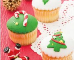 クリスマス、お菓子、スイーツ、マシュマロフォンダント、カップケーキ