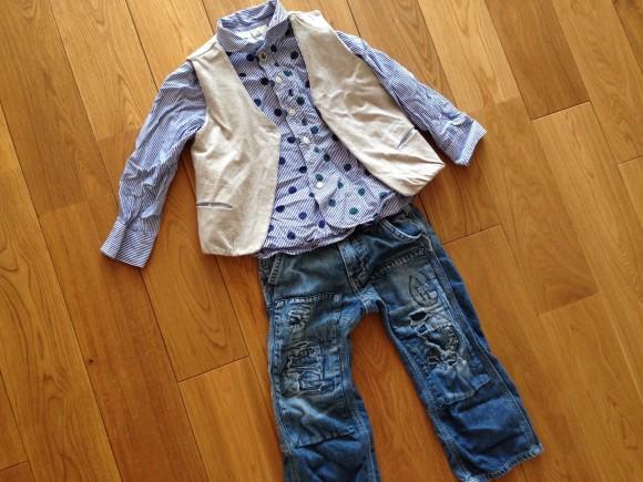 子供服、シャツ、ベスト、デニムダンガリー