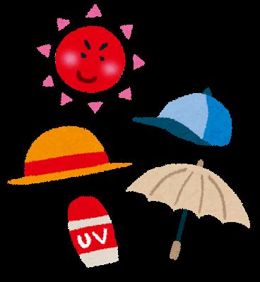 熱中症対策、紫外線対策、帽子、日傘、日焼け止め