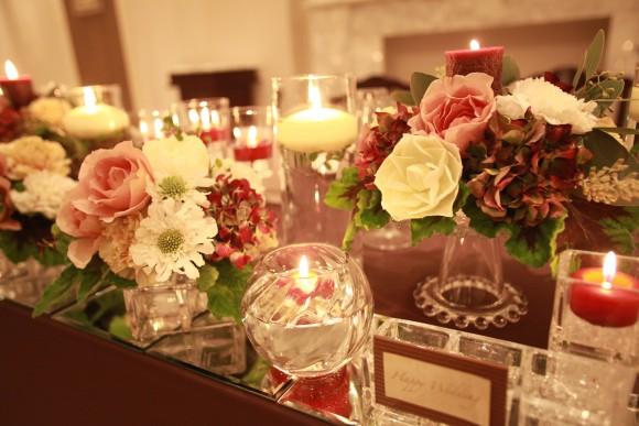 結婚式、披露宴、装花、秋ブライダル