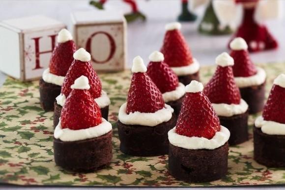 クリスマス、デコレーション、いちご、ケーキ、帽子、サンタ